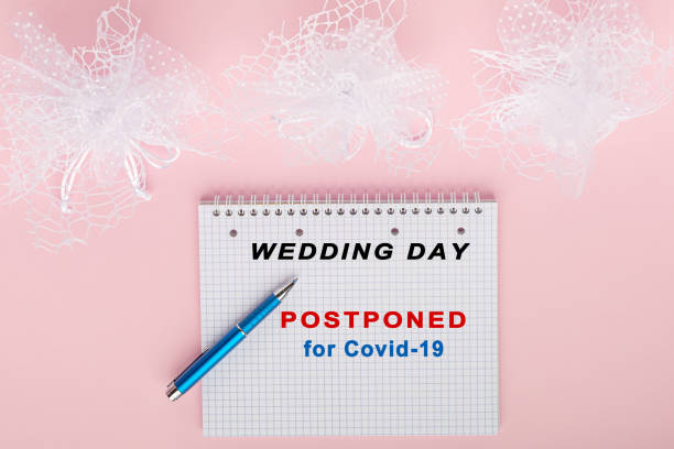 Stop wedding for coronavirus pandemy mock up stock photo