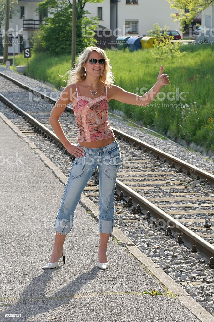 Stoping the train stock photo