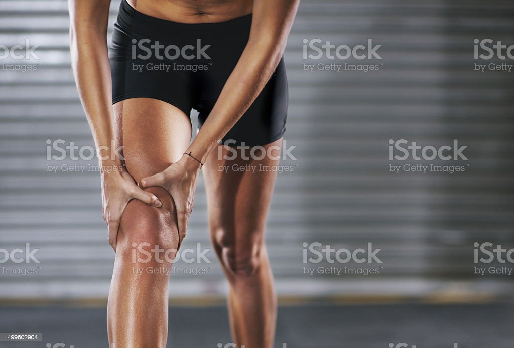 Stopped in her tracks by an injury stock photo