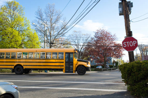 stopped sign and school bus - school buses stock pictures, royalty-free photos & images