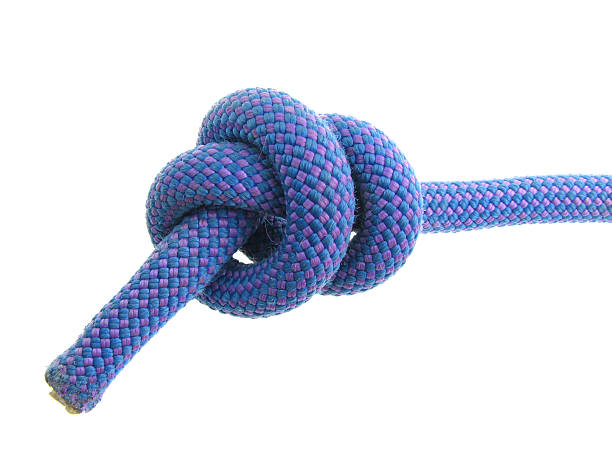 stopper knot in climbing rope stock photo