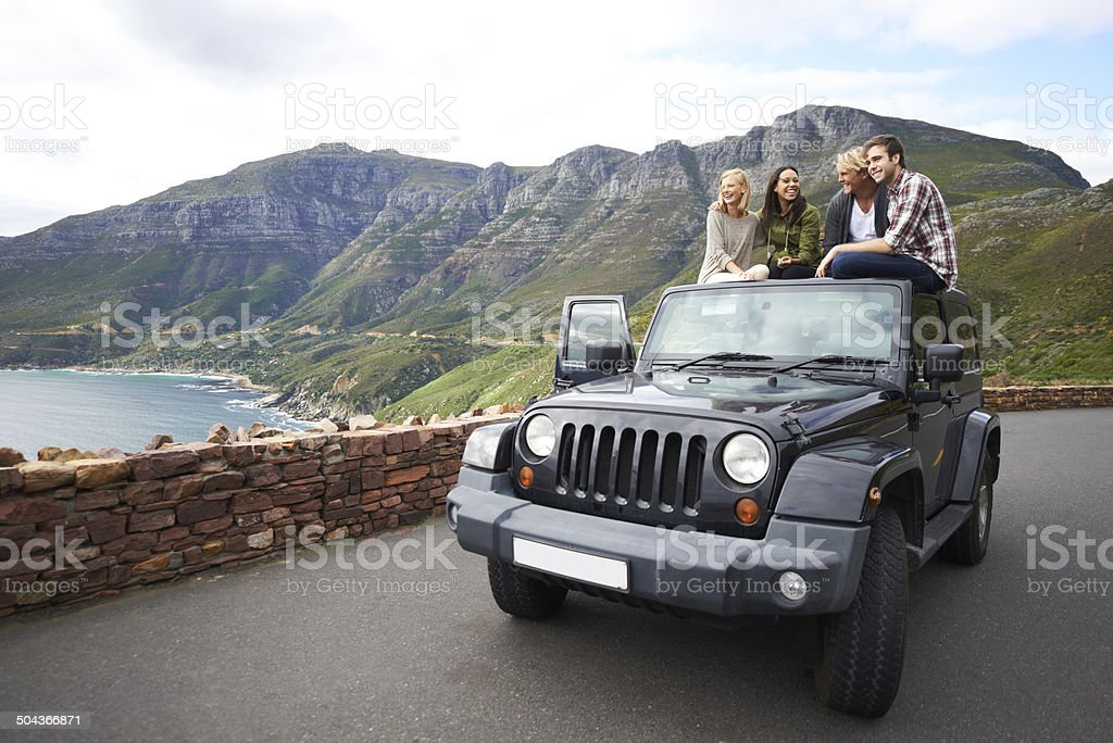 Stopping to experience the breathtaking view stock photo
