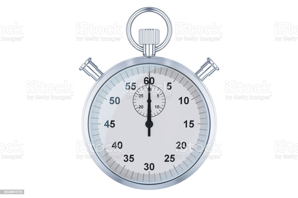 Stopwatch, 3D rendering isolated on white background stock photo