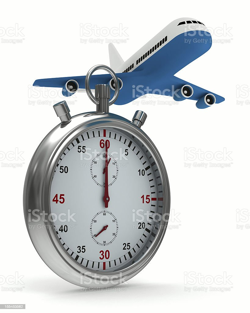Stopwatch and airplane on white background. Isolated 3D image royalty-free stock photo