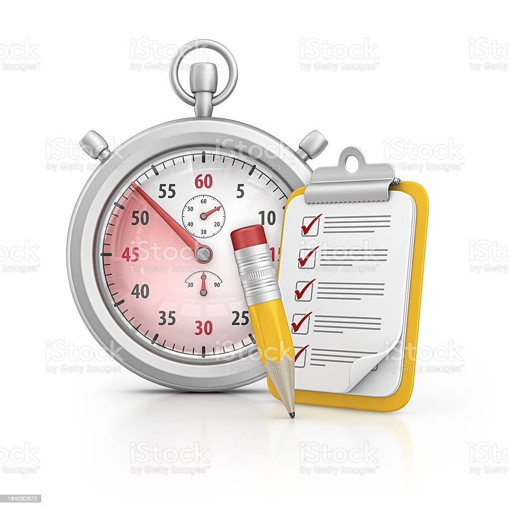 stopwatch and clipboard royalty-free stock photo