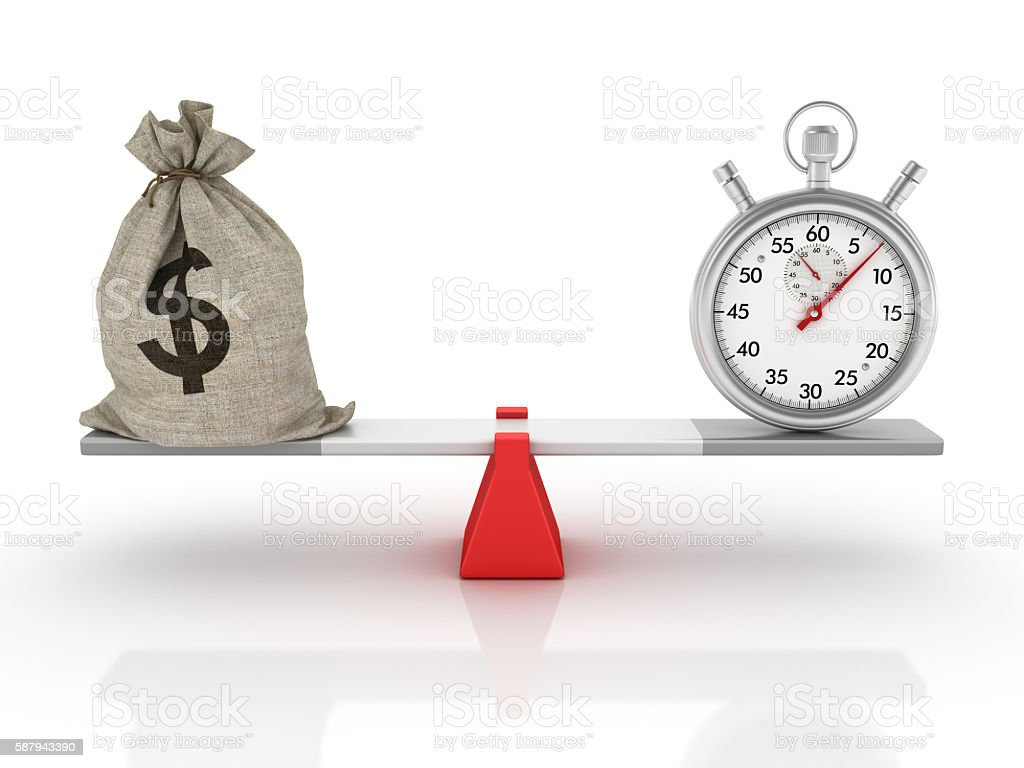 Stopwatch and Money Sack Balancing on a Seesaw stock photo
