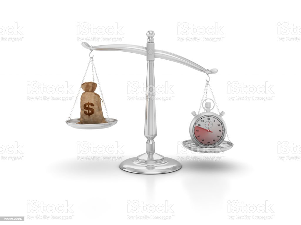 Stopwatch and Money Sack on Scales of Justice - 3D Rendering stock photo