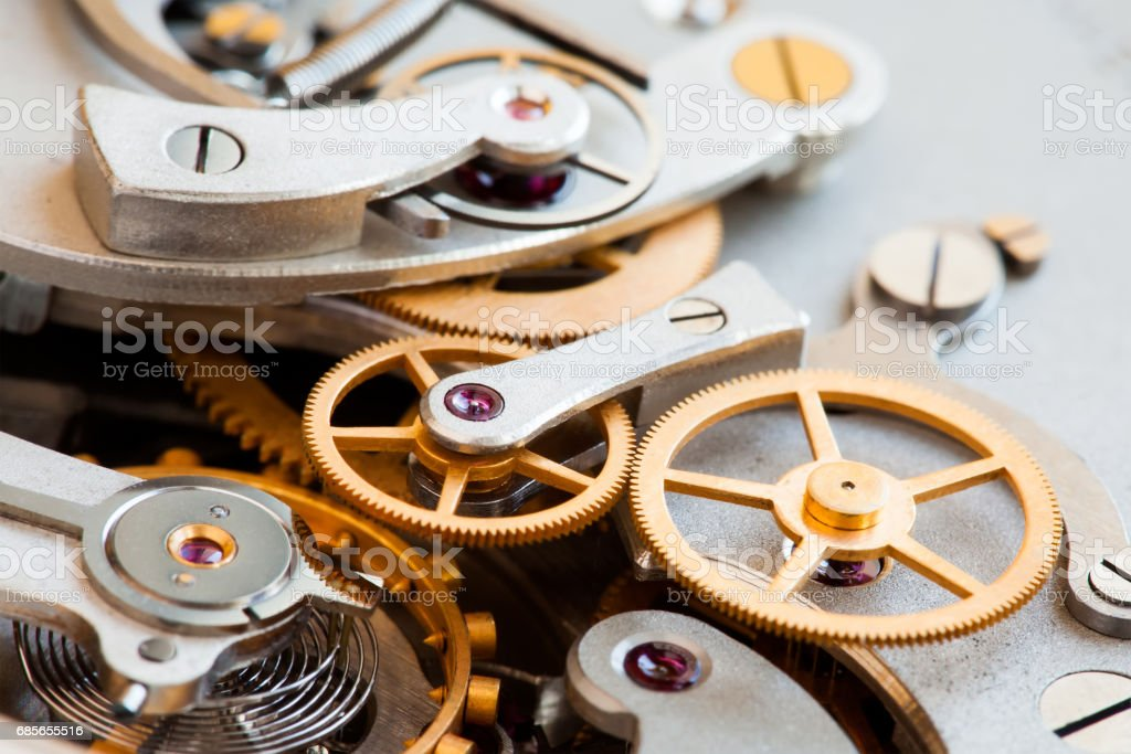 Stopwatch chronometer mechanism macro view. Cogs gears wheels mechanic connection concept. Macro view, selective focus foto de stock royalty-free