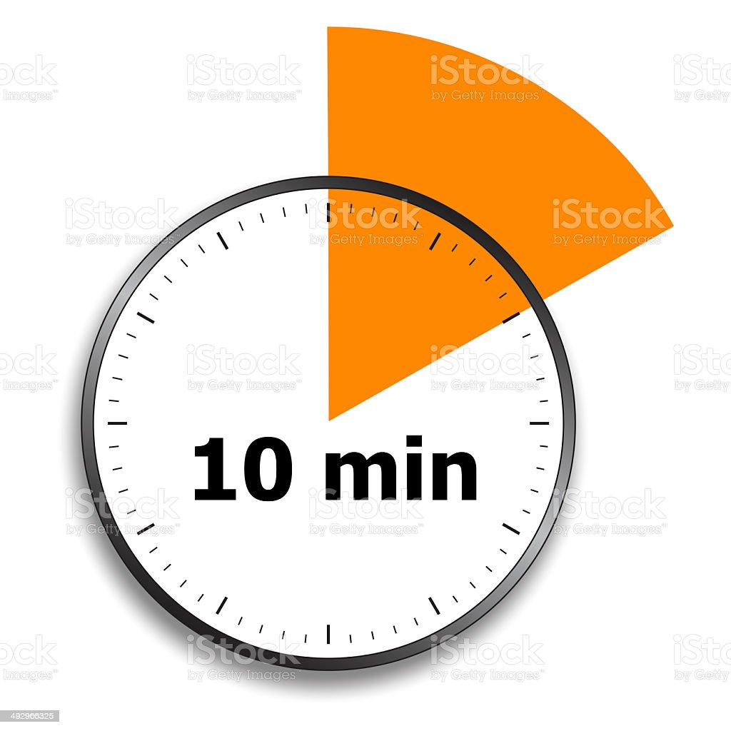 Stopwatch face with 10 minutes marked off stock photo