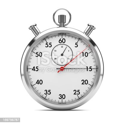 stopwatch on white with clipping path included. 3d generated.