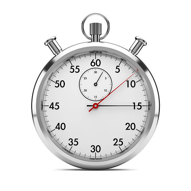 stopwatch front view stopwatch on white with clipping path included. 3d generated. timer stock pictures, royalty-free photos & images
