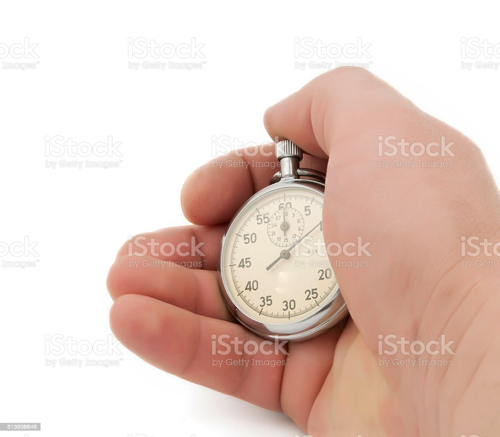Stopwatch in hand isolated stock photo