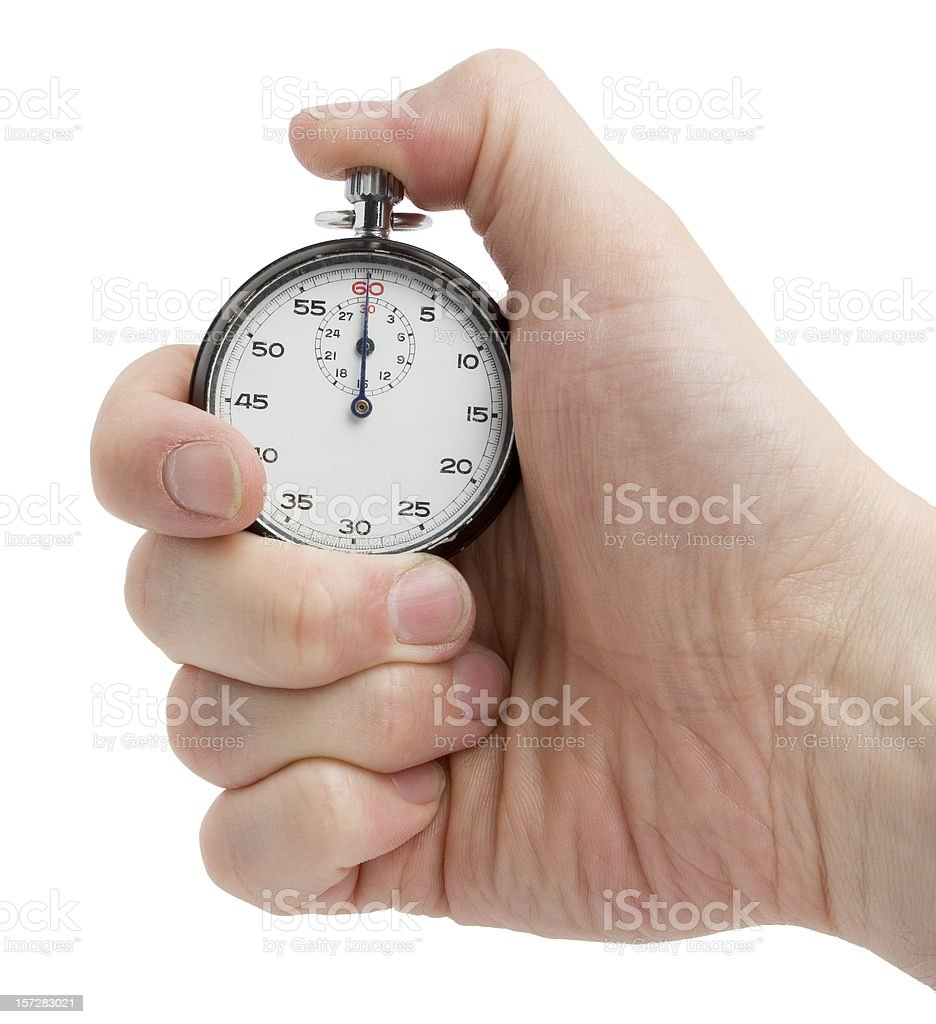 Stopwatch in hand royalty-free stock photo