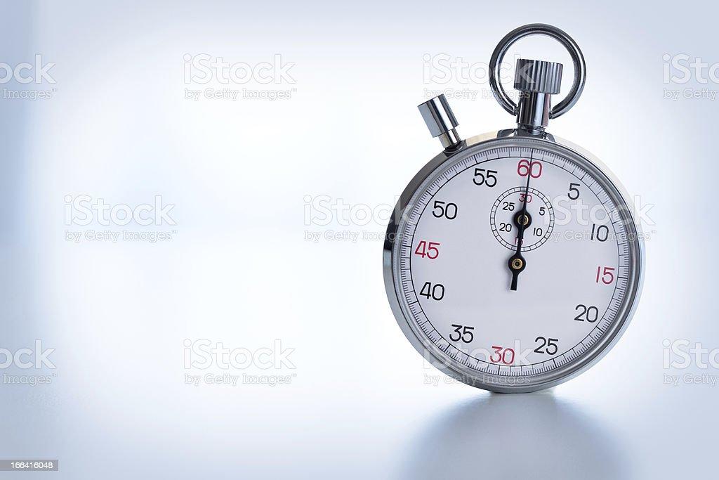 Stopwatch isolated on background blue tone stock photo