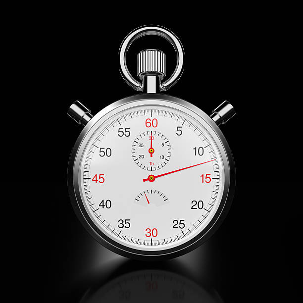 stopwatch on black xl+ - stop watch stock photos and pictures