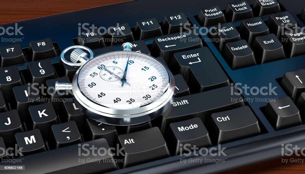 Stopwatch on computer keyboard concept, 3D rendering stock photo