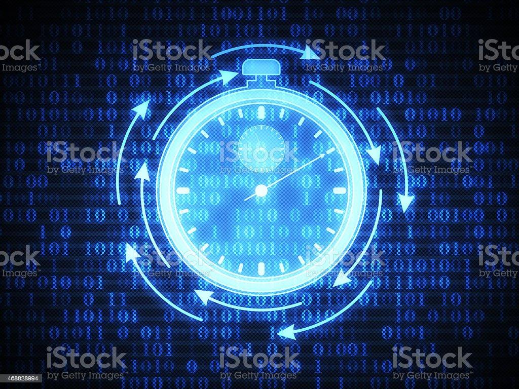 Stopwatch on Digital Background stock photo
