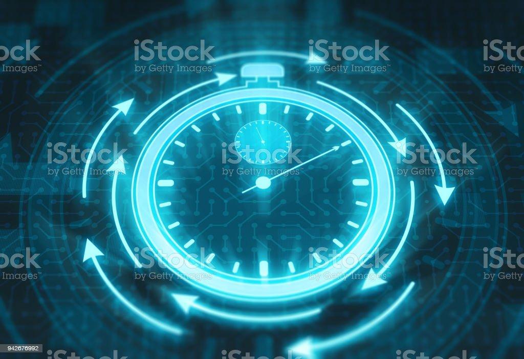 Stopwatch on digital display stock photo
