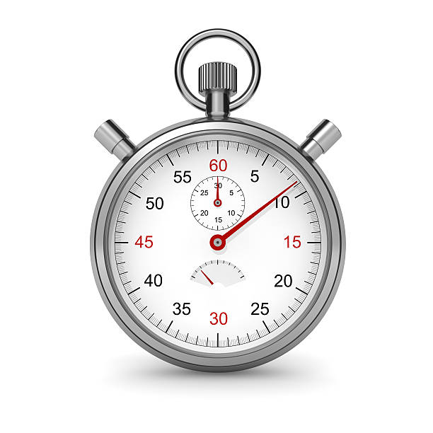 Stopwatch Isolated stopwatch on white. Clipping path included. Computer generated image. timer stock pictures, royalty-free photos & images