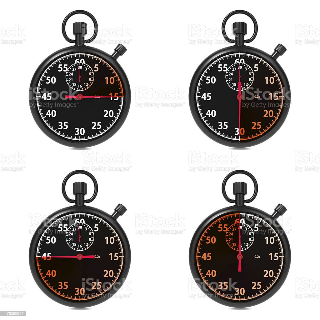 Stopwatch - Red Timers. Set on White. royalty-free stock photo