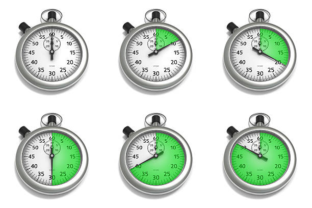 stopwatch set of illustrations - number 30 stock photos and pictures