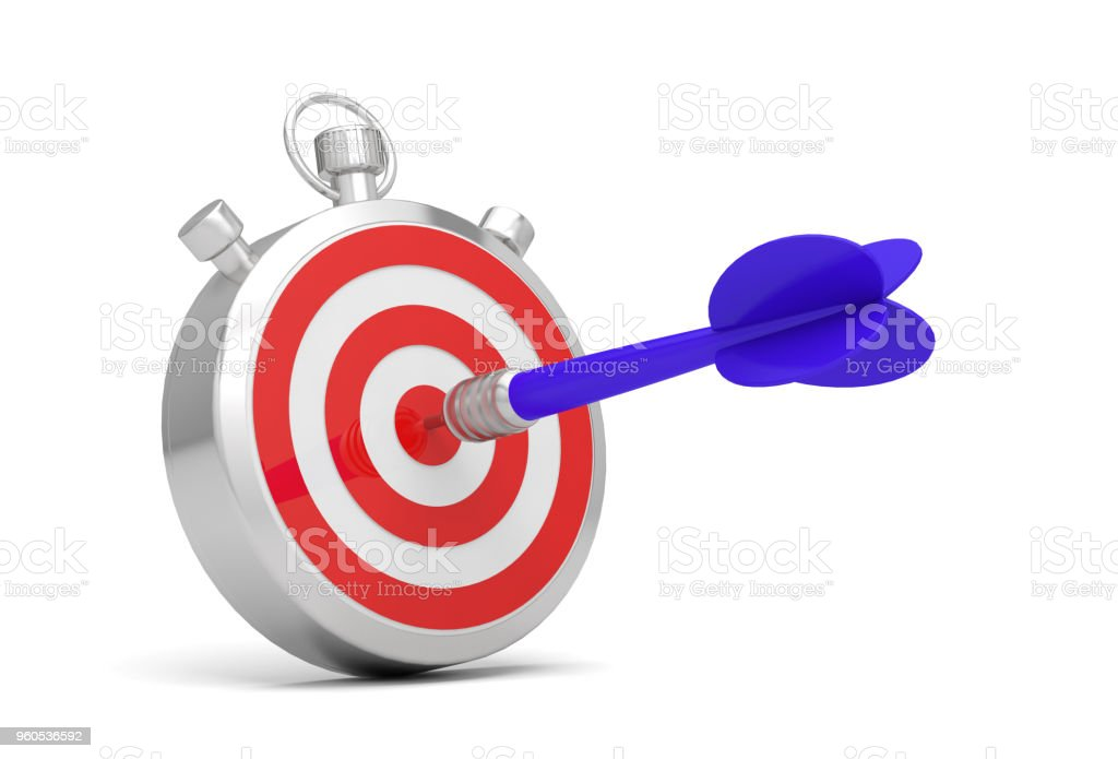 Stopwatch time target dart stock photo