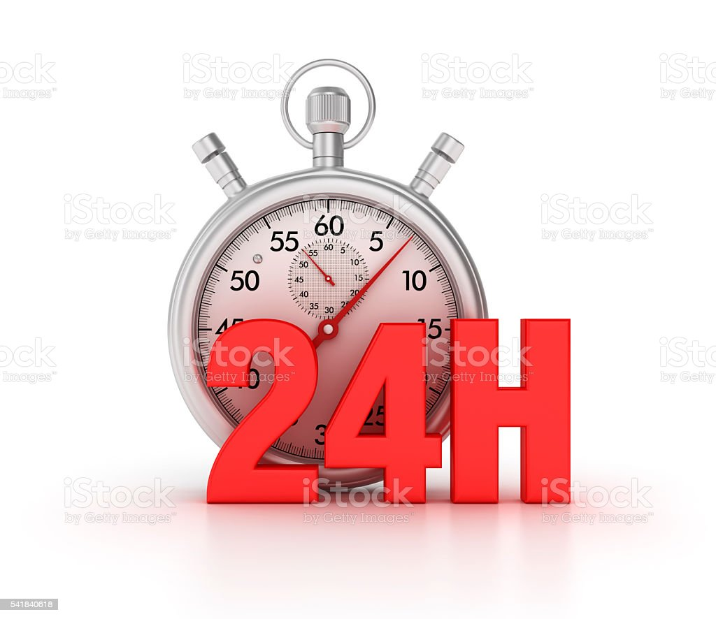 Stopwatch with 24H Letters on White Background stock photo