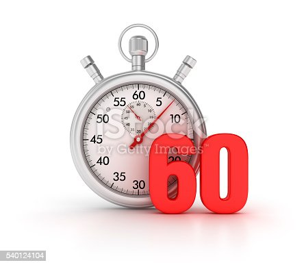 istock Stopwatch with 60 Number on White Background 540124104