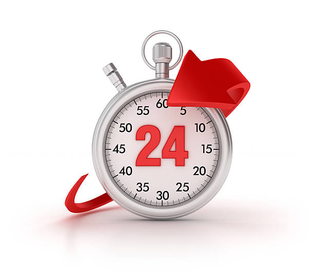chronomètre avec flèche fond blanc - nombre 24 photos et images de collection