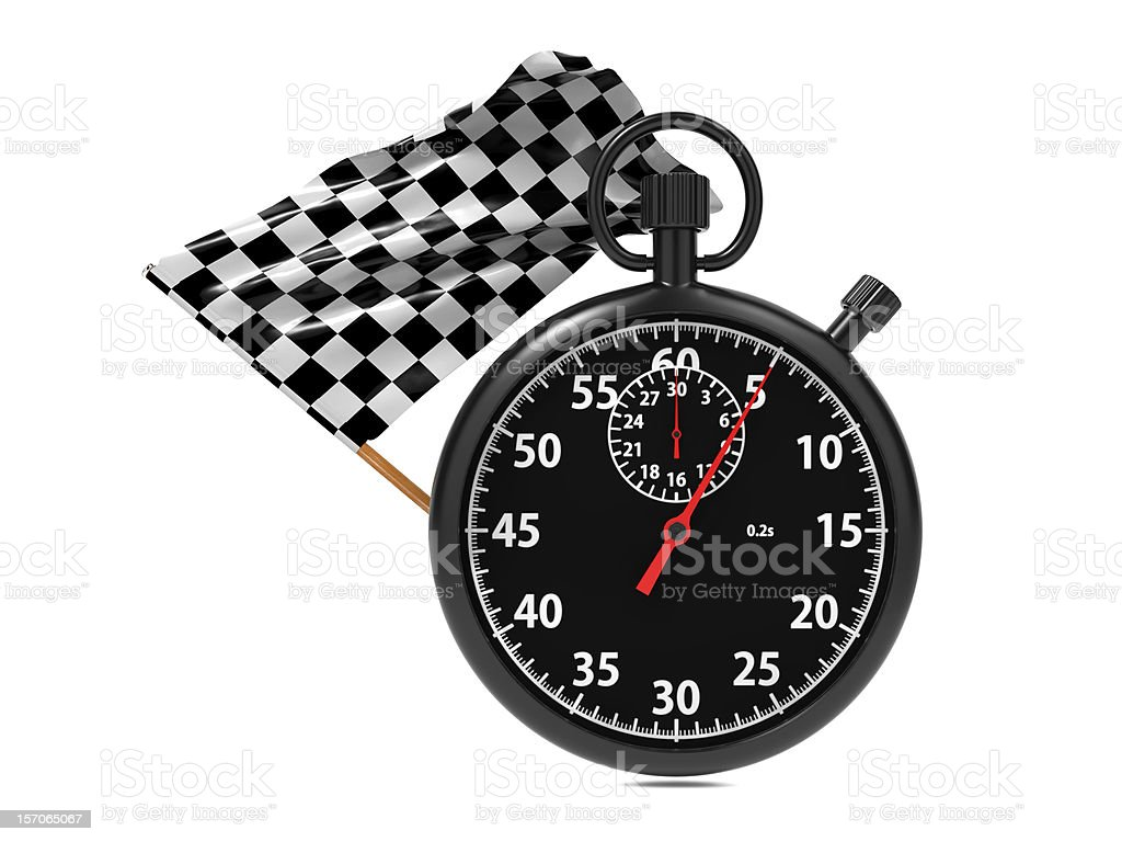 Stopwatch with checkered flag. royalty-free stock photo