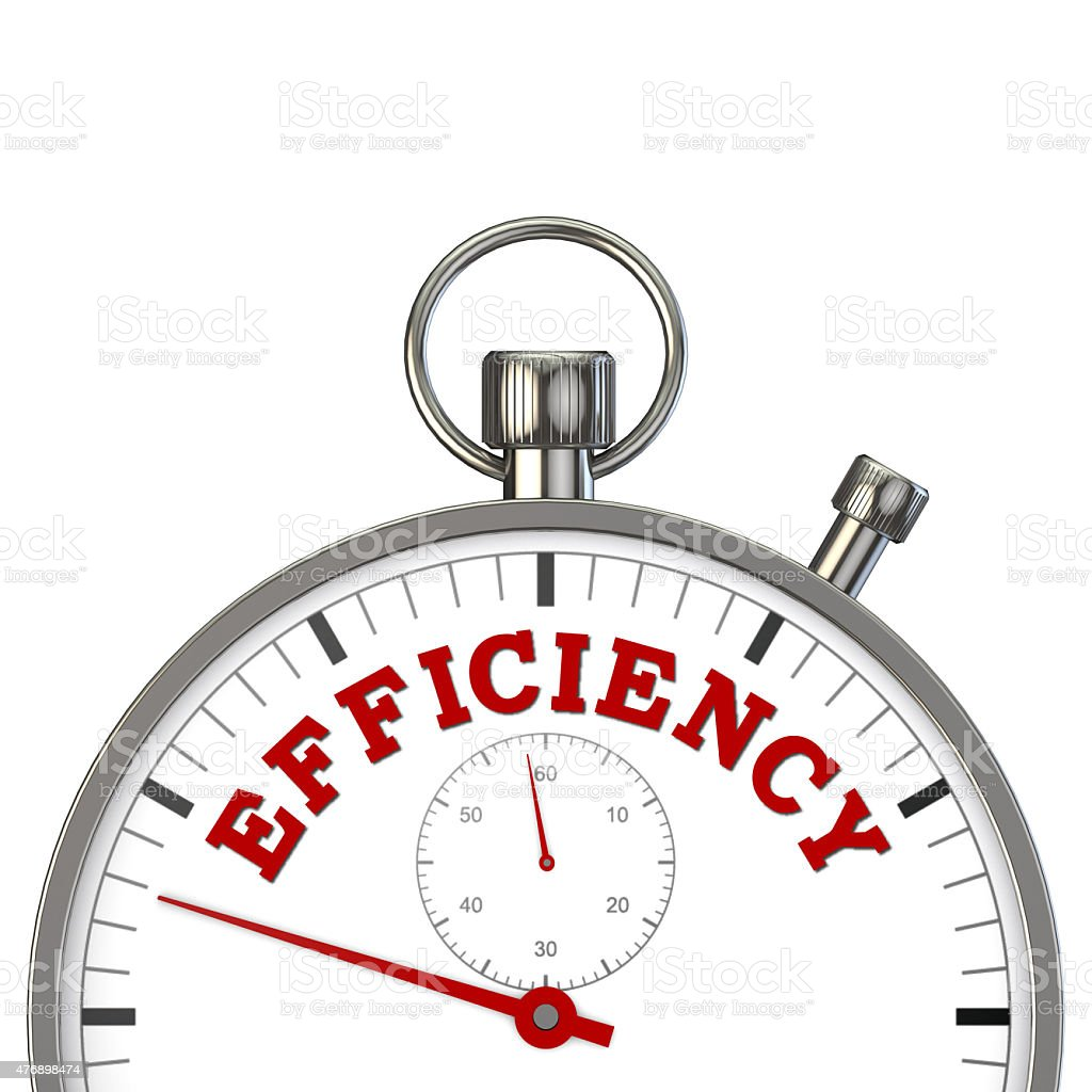 stopwatch with word efficiency stock photo