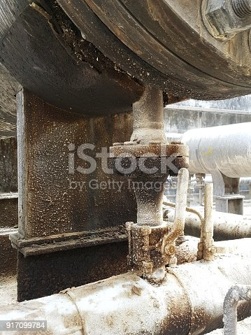 1001622522 istock photo Storage bunker- c tank  inside the used oil room, and that tank was also heated by steam and have explosion proof equipment  for  valve,motor, pump and fire protection 917099784