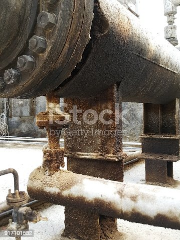 1001622522 istock photo Storage bunker- c tank  inside the used oil room, and that tank was also heated by steam and have explosion proof equipment  for  valve,motor, pump and fire protection 917101582