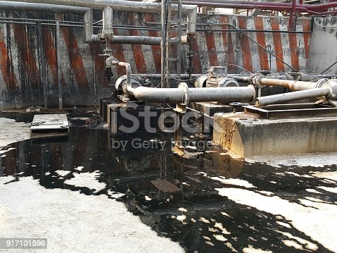 1001622522 istock photo Storage bunker- c tank  inside the used oil room, and that tank was also heated by steam and have explosion proof equipment  for  valve,motor, pump and fire protection 917101596