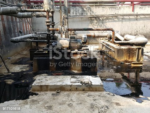1001622522 istock photo Storage bunker- c tank  inside the used oil room, and that tank was also heated by steam and have explosion proof equipment  for  valve,motor, pump and fire protection 917101618