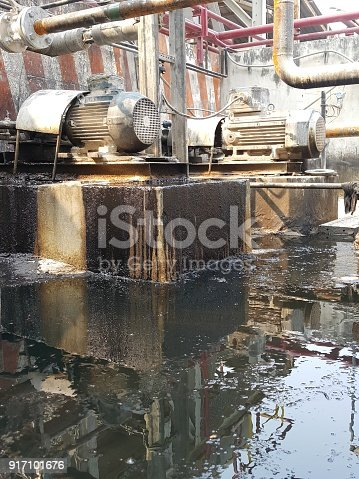 1001622522 istock photo Storage bunker- c tank  inside the used oil room, and that tank was also heated by steam and have explosion proof equipment  for  valve,motor, pump and fire protection 917101676