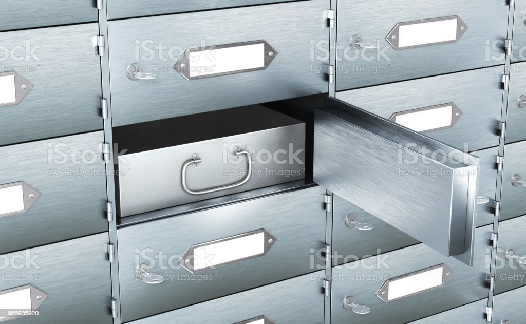 Storage cabinet. bank cell. 3d illustration стоковое фото