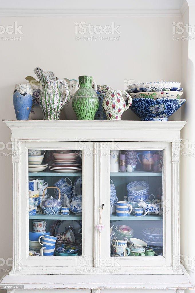 Storage Cabinet With Crockery stock photo