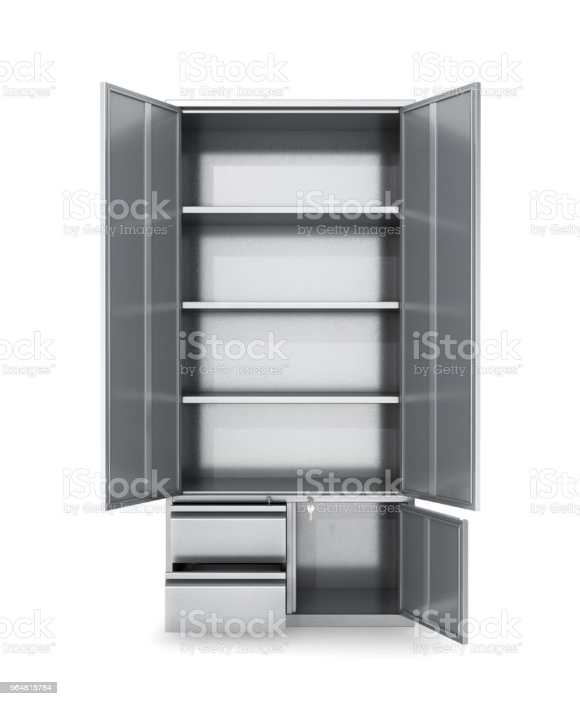Storage cabinet with open doors isolated on white. Documents, tools. 3d illustrations royalty-free stock photo