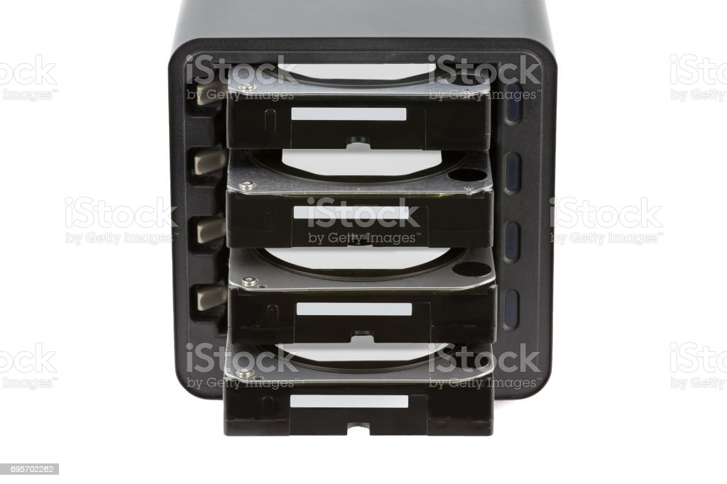 NAS, storage connected to the network. Several hard drives. HDD. Isolated on white background stock photo