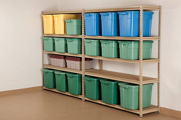 Storage Containers on Shelf stock photo