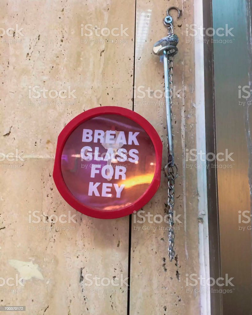 Storage of a key of fire-prevention safety stock photo