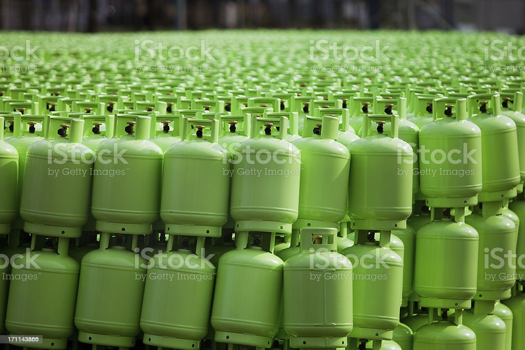 Storage of butane gas cylinders stock photo
