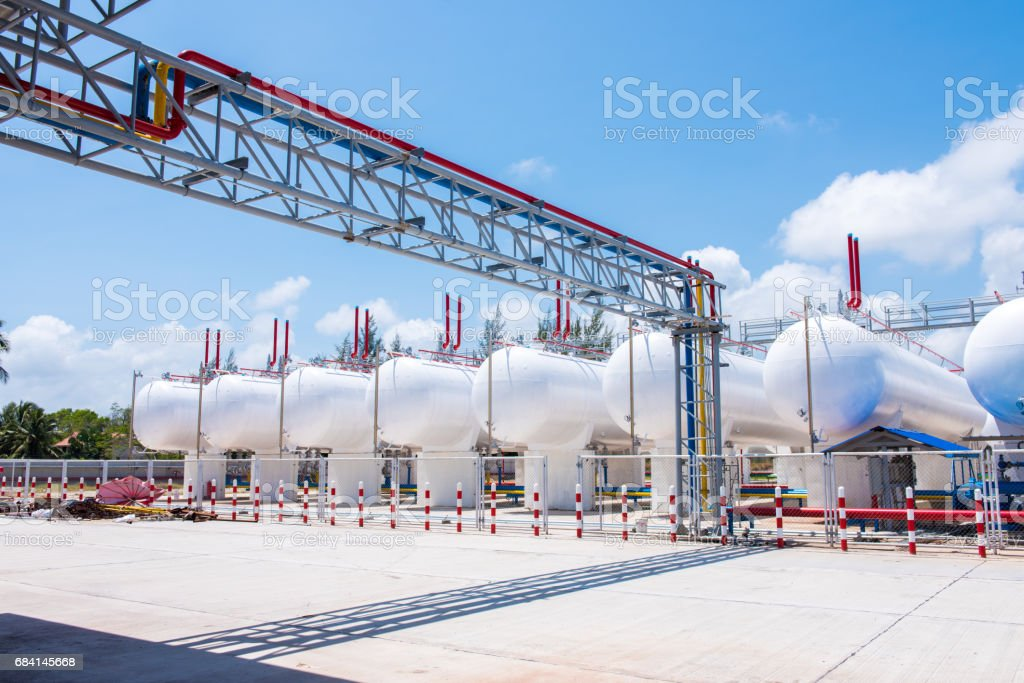 storage of gasoline in the horizontal tanks and pipeline royalty-free stock photo