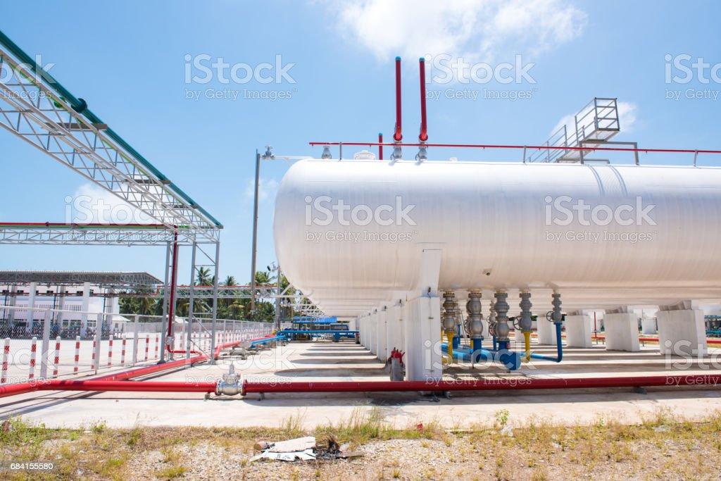 storage of gasoline in the horizontal tanks and pipeline zbiór zdjęć royalty-free