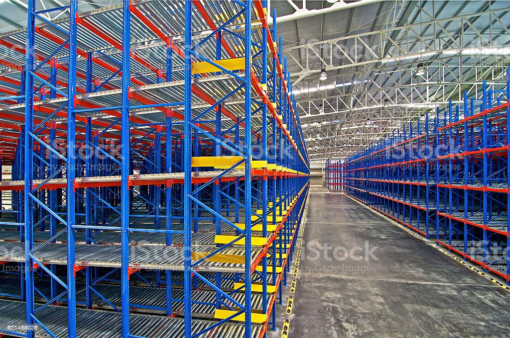 Storage pallet racking system for distribution stock photo