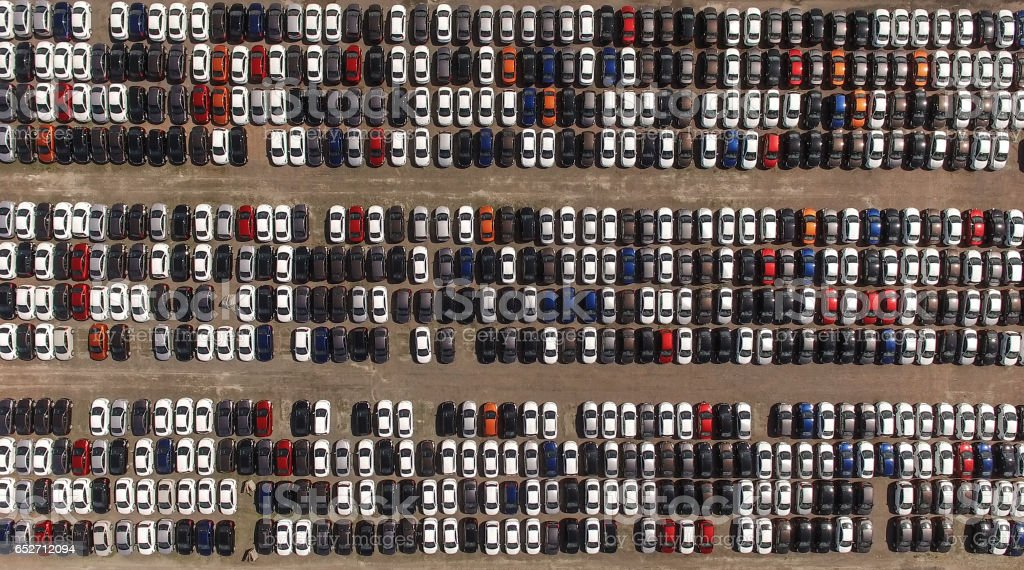 Storage parking with new cars stock photo