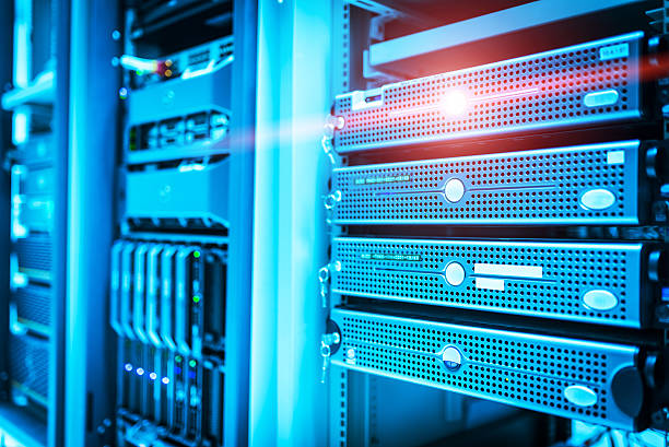 Storage servers in data room Domestic Room stock photo