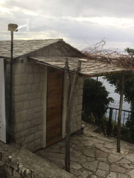 Storage shed in parking lot outside of Dubrovnik stock photo