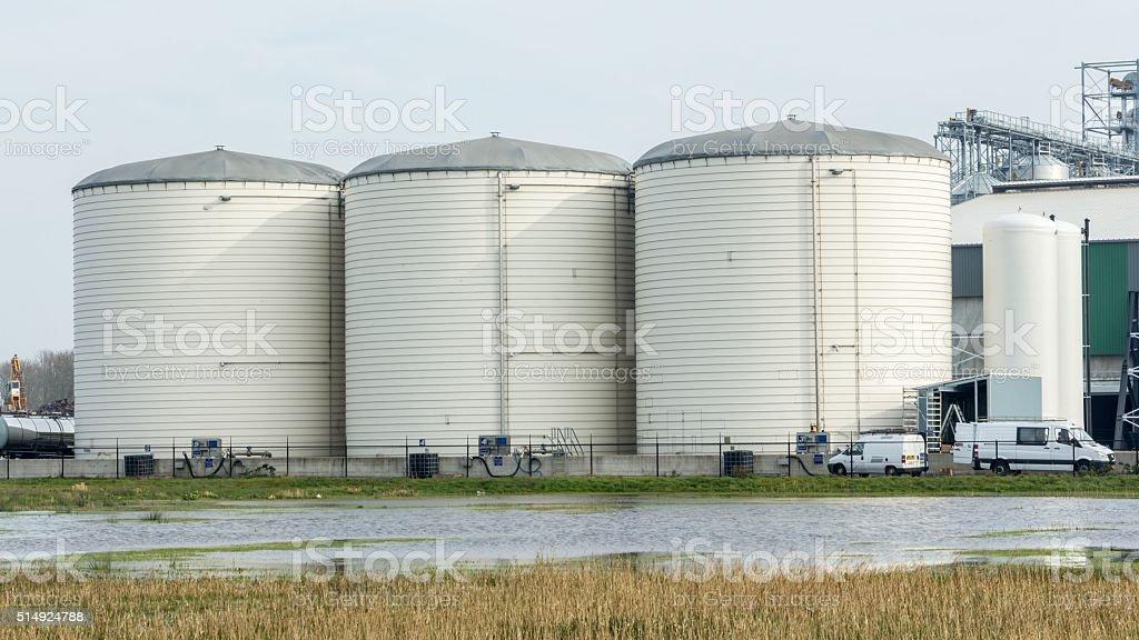 Storage silo for grain stock photo